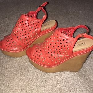 Shoes - Coral Pink Wedges